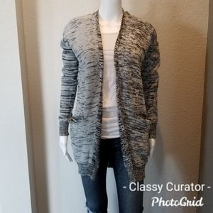 Poof! Gray variegated long cardigan sweater